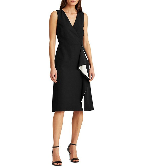 Color:Black/Lauren White - Image 1 - Crepe V-Neck Sleeveless Ruffle Front Faux Wrap Dress