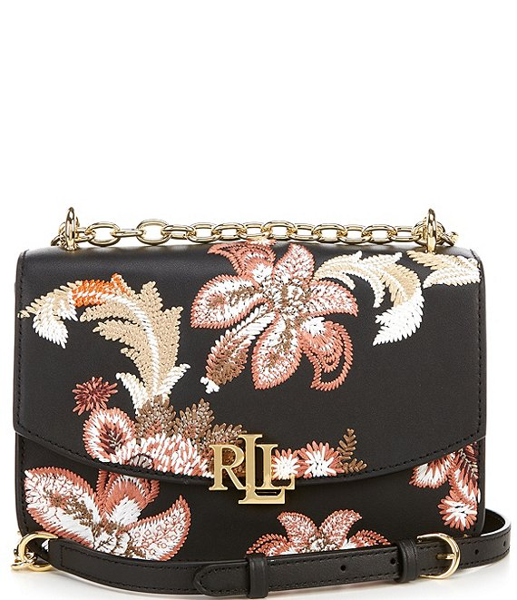 Color:Black - Image 1 - Madison Embroidered Leather Crossbody Bag