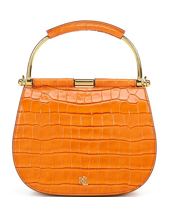 Color:Persimmon - Image 1 - Mini Round Crocodile-Embossed Satchel Bag