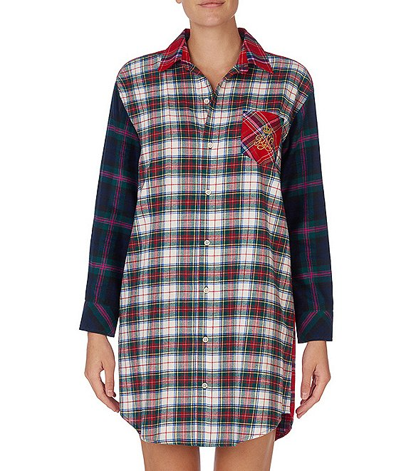 Color:Multi Plaid - Image 1 - Mixed Plaid Brushed Twill Sleep Shirt
