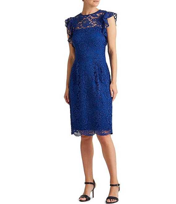 Color:Summer Sapphire - Image 1 - Illusion Neck Flutter Sleeve Scalloped Hem Lace Sheath Dress
