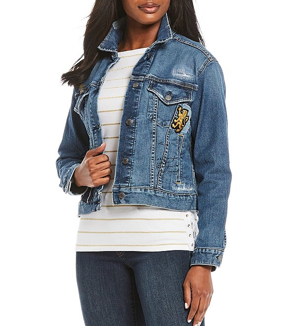 Color:Tinted Sapphire Wash - Image 1 - Paisley Patch Denim Jacket