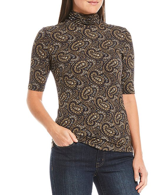 Color:Lauren Navy Multi - Image 1 - Paisley Print Stretch Knit Jersey Turtle Neck Elbow Sleeve Top