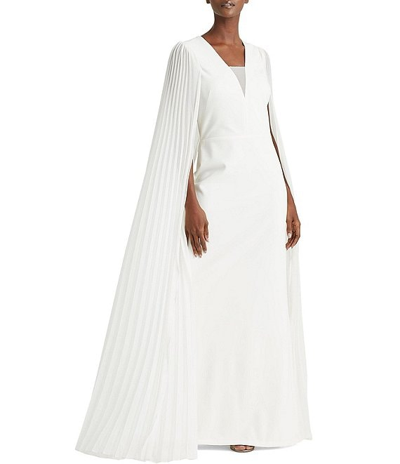 Color:Cream - Image 1 - Pleated Cape Crepe Mermaid Gown