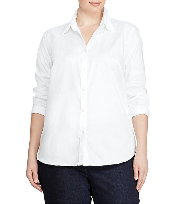 Lauren Ralph Lauren Plus Cotton Poplin Dress Shirt