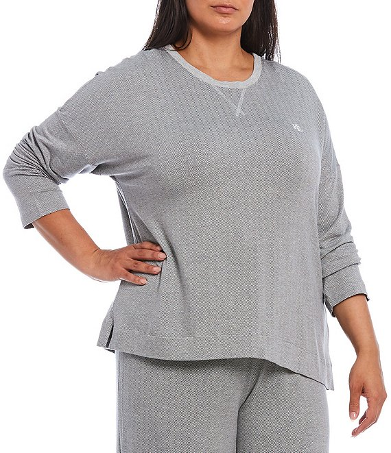 Color:Grey Print - Image 1 - Plus French Terry Long Sleeve Sleep Top