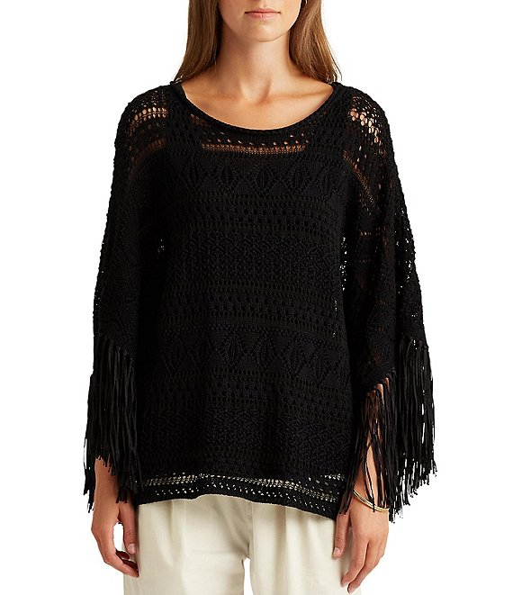 Lauren Ralph Lauren Pointelle Boat-Neck Fringe Sleeve Boxy Sweater