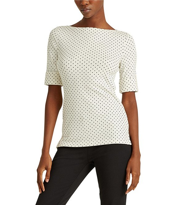 Color:Mascarpone Cream/Polo Black - Image 1 - Polka Dot Stretch Cotton-Blend Boat Neck Elbow Sleeve Top