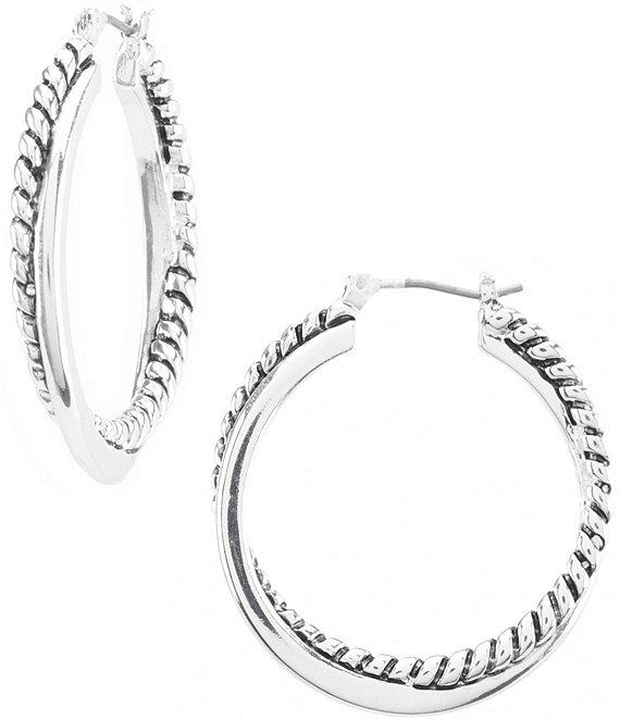 Lauren Ralph Silver Twisted Hoop Earrings