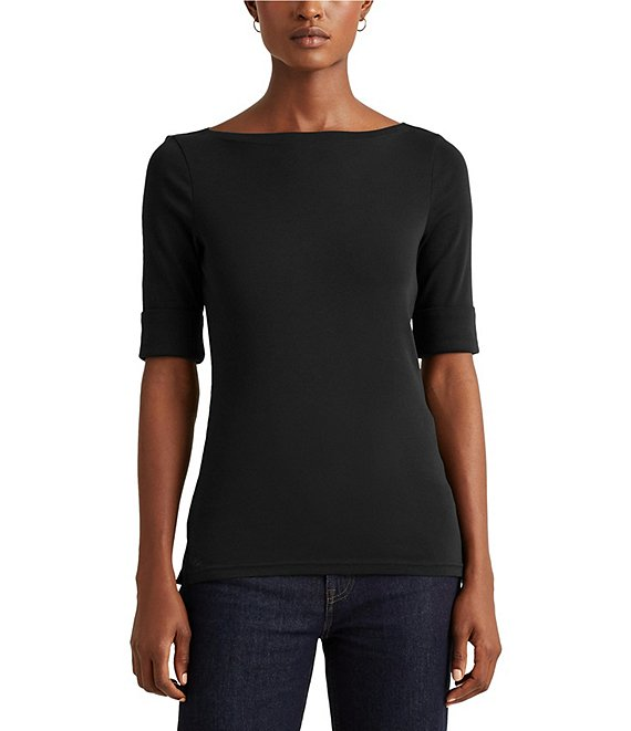 Color:Polo Black - Image 1 - Stretch Cotton Blend Boat Neck Elbow Sleeve Top