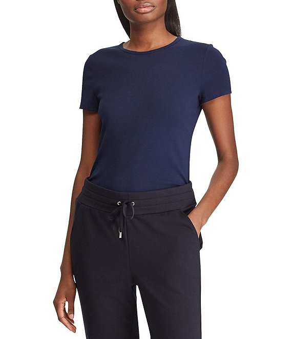 Color:Lauren Navy - Image 1 - Short Sleeves Stretch Cotton T-Shirt