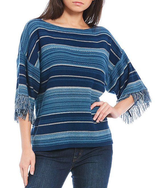 Lauren Ralph Lauren Striped Fringe-Trim Sleeve Boat Neck Cotton Top