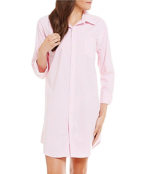 Color:Pink Stripe - Image 1 - Striped Button-Up Sleep Shirt