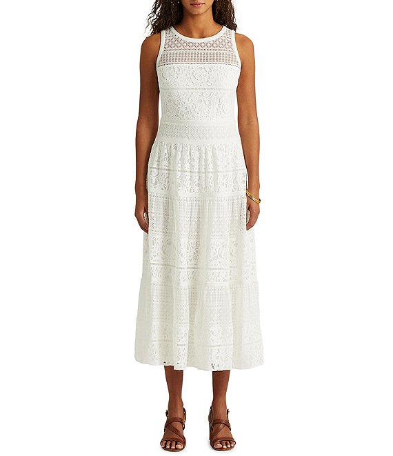 Color:White - Image 1 - Tiered Lace Midi Dress