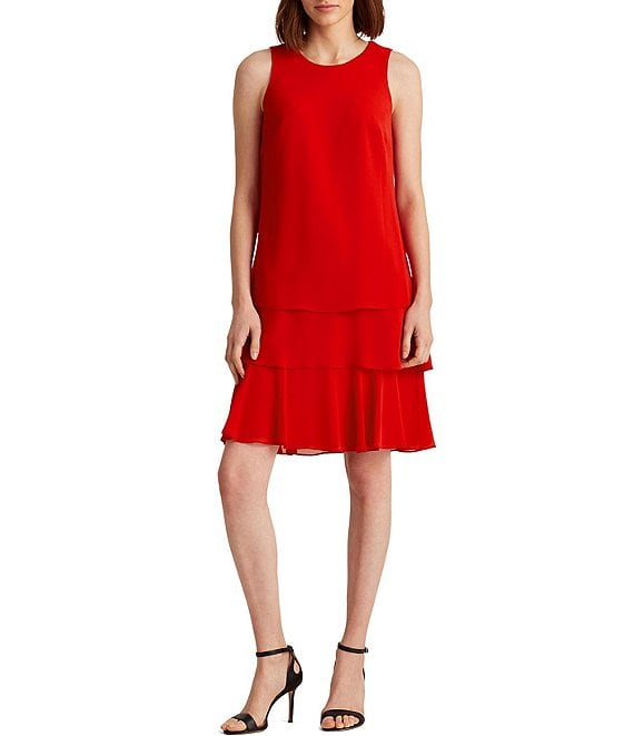 Color:Orient Red - Image 1 - Tyree Georgette Layered Hem Sleeveless Shift Dress