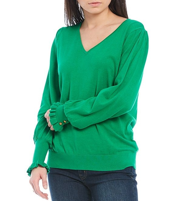 Color:Vivid Emerald - Image 1 - V-Neck Buttoned-Cuff Long Sleeve Cotton-Blend Sweater
