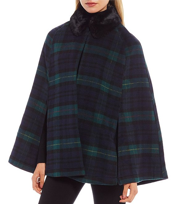 Lauren Ralph Lauren Women's Plaid Cape with Faux Fur Collar