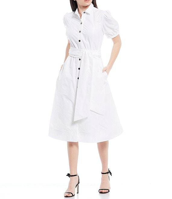 Color:White - Image 1 - Alexandra Button Front Short Sleeve Midi Dress