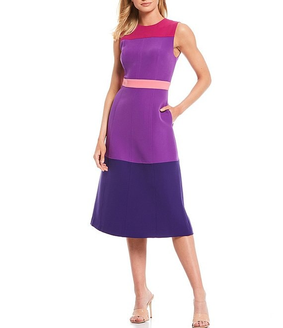 Color:Ultraviolet/Rouge/Magenta/Purple - Image 1 - Tyra Colorblock Sleeveless A-Line Dress