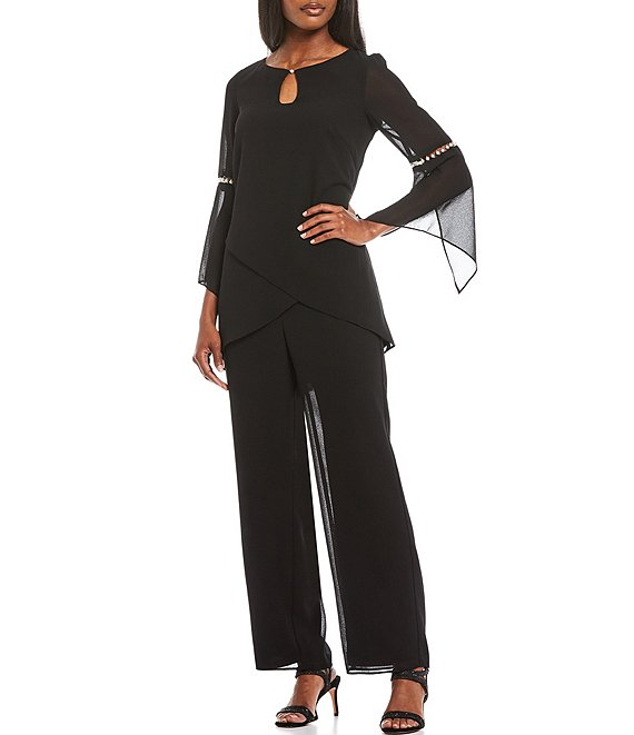 Color:Black - Image 1 - 2-Piece Tulip Front Pearl Trim Pant Set