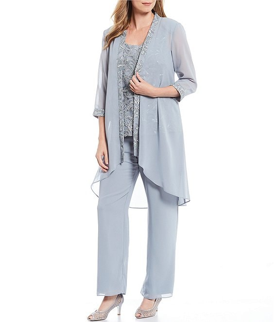 Le Bos 3-Piece Embroidered Duster Pant Set