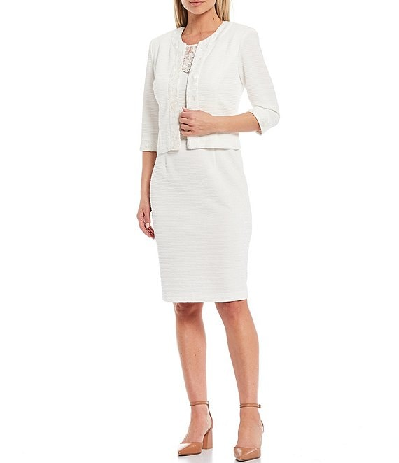 Color:White - Image 1 - 3/4 Sleeve Embroidered Mesh Trim Textured 2-Piece Jacket Dress