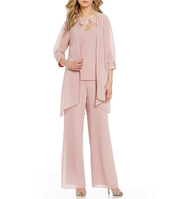 Color:Dusty Rose - Image 1 - Embroidered Chiffon 3-Piece Pant Set