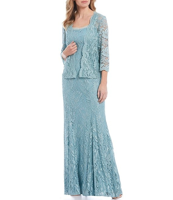 Color:Cool Sage - Image 1 - Embroidered Stretch Lace 3/4 Sleeve Jacket Dress