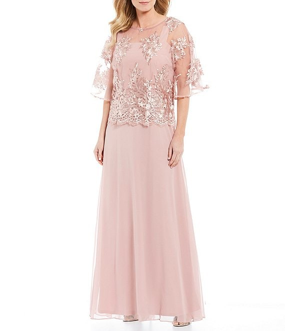 Color:Rose - Image 1 - Floral Embroidered Popover Gown