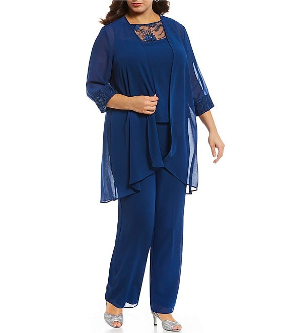 649b5115ff Le Bos Plus Chiffon Embroidered 3-Piece Pant Set