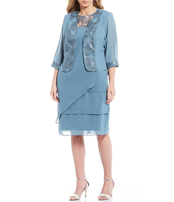 Le Bos Plus Size 2-Piece Embroidered Trim Tiered Jacket Dress