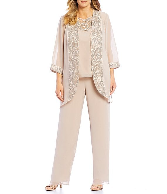 f74d3dfd5b Le Bos Plus Size 3-Piece Embroidered Trim Duster Pant Set