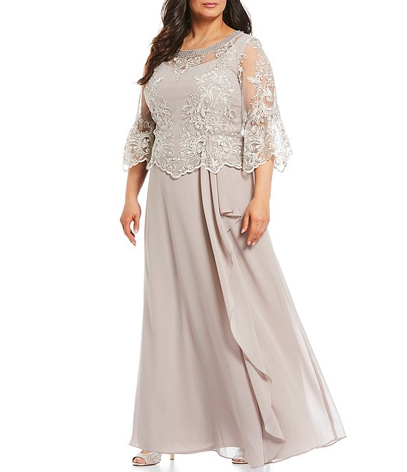 Color:Stone - Image 1 - Plus Size Pearl Neck Trim Detail 3/4 Bell Sleeve Lace Popover Cascade A-Line Gown