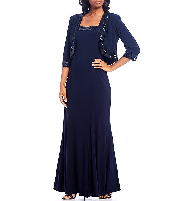 Color:Navy - Image 1 - Sequin Trim 2-Piece Jacket Dress