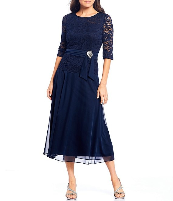 Color:Navy - Image 1 - Stretch Lace Bodice Ruched Waist With Broach Detail Tea Length Gown