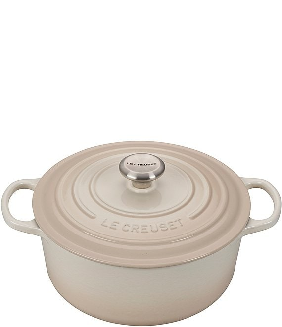 Color:Meringue - Image 1 - Signature 5.5-qt. Round Enameled Cast Iron Dutch Oven with Stainless Steel Knob