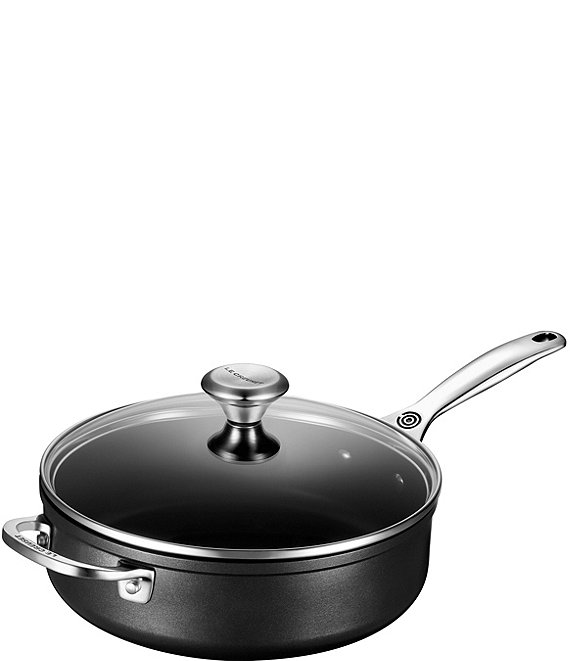 Color:Black - Image 1 - Toughened Nonstick Pro 4-1/4 QT Saute Pan with Helper Handle & Glass Lid