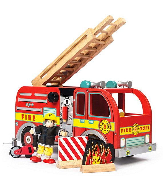 Le Toy Van Honeybake Wooden Fire Engine Truck Firefighter Set