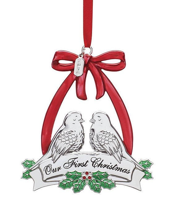 Dillards Christmas 2019 Lenox 2019 Our First Christmas Doves Silver Ornament | Dillard's