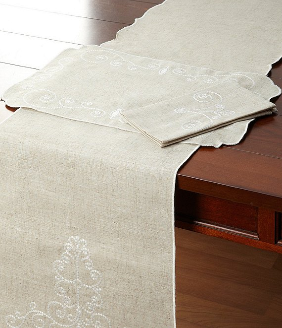 Color:Linen - Image 1 - French Perle Scroll Table Linens