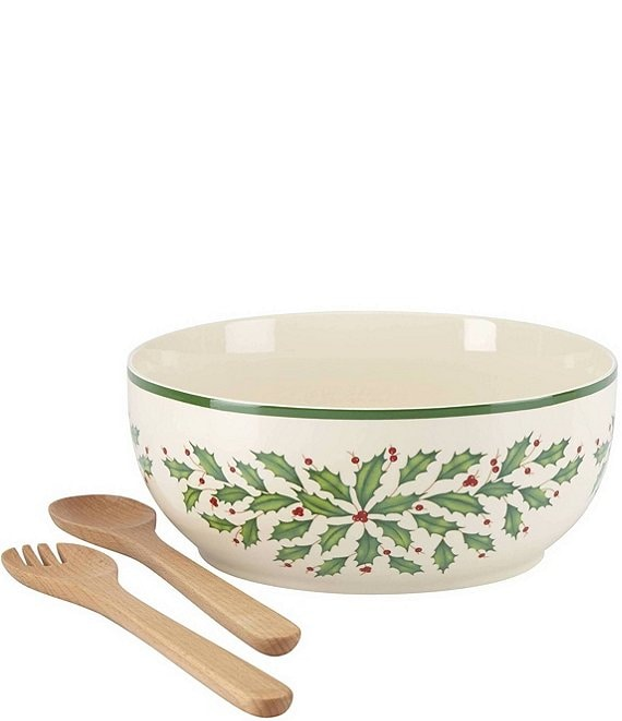 Lenox Holiday Salad Bowl with Wood Spoons