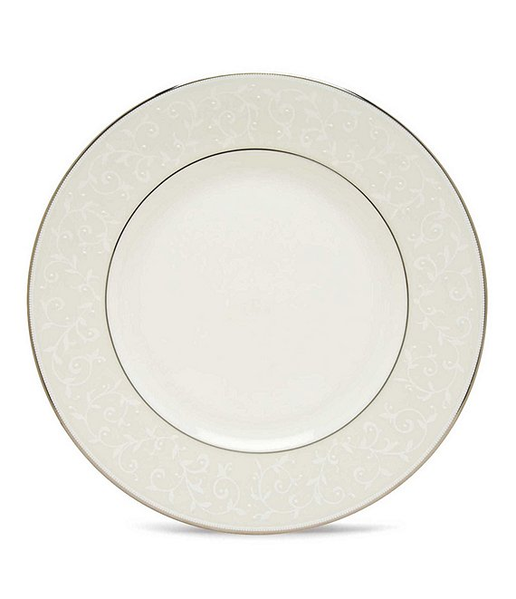 Lenox Opal Innocence Vine & Pearl Platinum Opalescent Bone China Dinner Plate