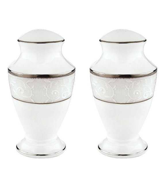 Lenox Opal Innocence Vine & Pearl Platinum Opalescent Bone China Salt & Pepper Shaker Set