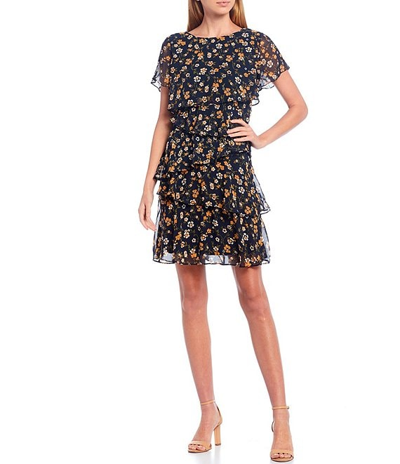 Color:Navy/Mustard - Image 1 - Angled Tiered Ruffle Flutter Sleeve Floral Print Dress