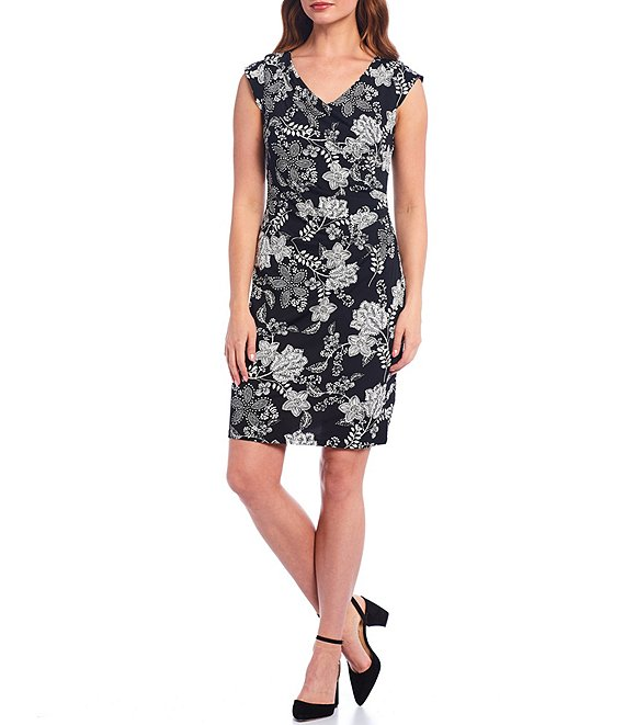 Color:Black/Silver - Image 1 - Cap Sleeve V-Neck Side Tuck Floral Print Sheath Dress