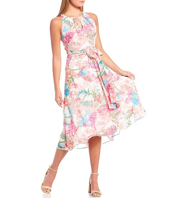 Color:White/Multi - Image 1 - Floral Chiffon Sleeveless Keyhole Neck Belted Midi Dress