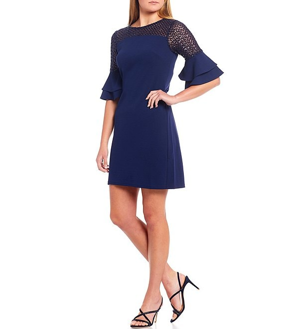 Color:Navy - Image 1 - Illusion Layered Bell Sleeve Crepe Sheath Dress