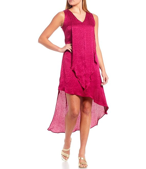 Color:Fuchsia - Image 1 - V-Neck Asymmetrical Hi-Low Hem Sleeveless Animal Print Satin Dress