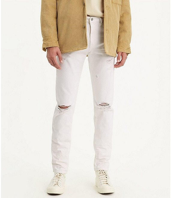 Color:Marshmallow Burnout - Image 1 - Levi's® 512 Crash Destructed Slim Taper Fit Stretch Jeans
