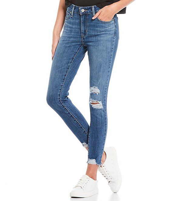 Color:Lapis Sun - Image 1 - 711 27#double; Inseam Distressed Raw Hem Ankle Skinny Jeans